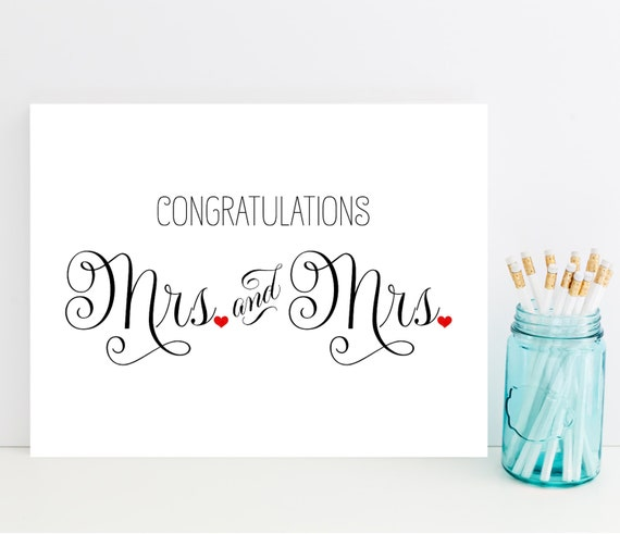 Mrs and mrs congratulations card wedding card for lesbian Married to design