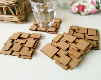 Coasters wood - Wooden coasters - Coaster mdf - Laser - Handmade gift - Recycled wood - Hipster - Reclaimed wood - Set of 4 wooden coasters
