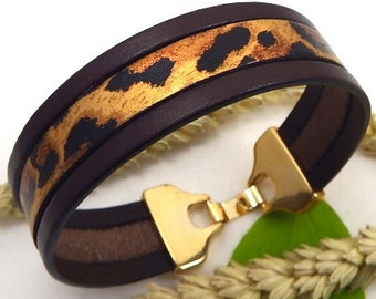 Tutorial kit for brown and leopard cuff bracelet