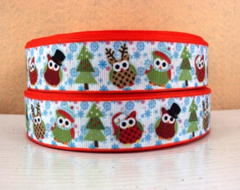 1 inch - Christmas Owls on Light Blue Icicles Snowflakes Printed Grosgrain Ribbon for Hair Bow