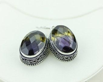 Ametrine (Lab Simulated) Vintage Filigree Setting 925 SOLID (Nickel Free) Sterling Silver Dangle Earrings e495