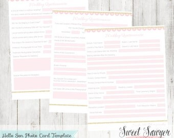 INSTANT DOWNLOAD - Glitter and Lace Wedding Questionnaire Template - Wedding Form Templates
