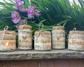 Jar Tea Light Holders x 5, Jam Jar Candle Holders, Vintage Music Paper and Twine, Rustic Wedding Decor, Country Wedding, Wedding Favour.