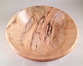 Hand- turned Spalted Maple Salad Bowl, #1521