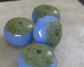 Czech Faceted Rondelle Opal Blue with Stone 17mm - 4 Pieces