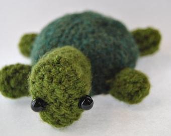 Crocheted Green Amigurumi Turtle