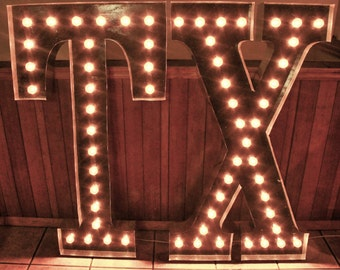 "LARGE 48"" TX  Light up letter sign Custom State Initials, Texas wall art hanging Marquee Signs, Texas Decor,  Light Bulb Letter Sign Light"