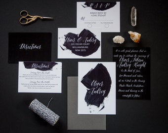 Onyx - Custom Modern, Black and white Wedding invitations, with matching envelope