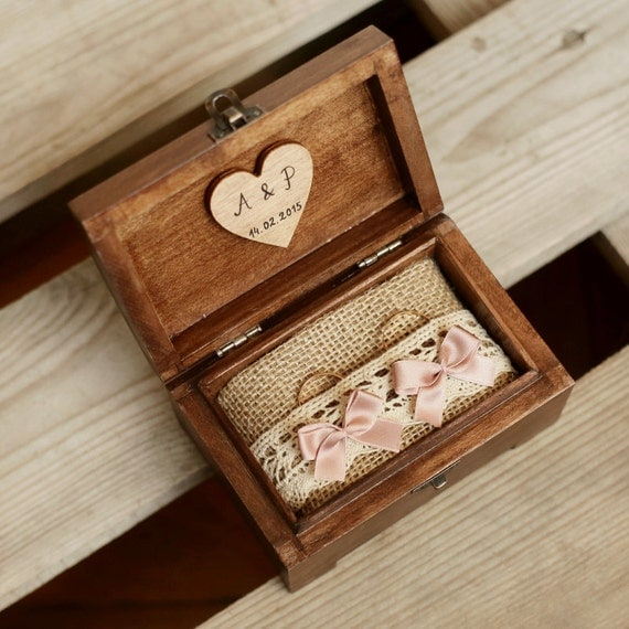 Personalized wedding ring box wooden ring box by for Cute engagement ring boxes