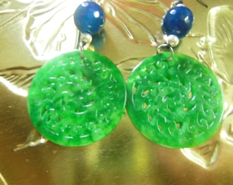 Free shipping - Dry natural emerald green round hollow carved Ms. flower earrings earrings