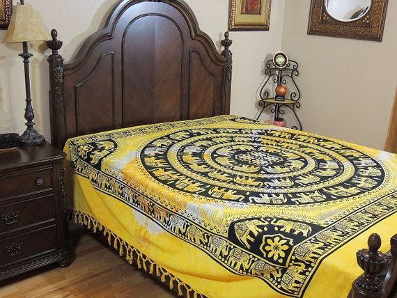 bunte bettw sche gelbe elefant cotton print volle blockgr e. Black Bedroom Furniture Sets. Home Design Ideas