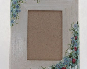 hand painted picture frame flowers, 5x7, wall mount