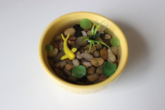 Miniature koi pond in yellow ceramic bowl fake koi pond for Artificial koi fish for ponds