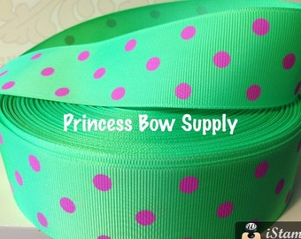 """1.5"""" lime green hot pink polka dot minnie Mouse grosgrain ribbon BTY for bow boutique sew birthday party supply summer lime Tinkerbell"""