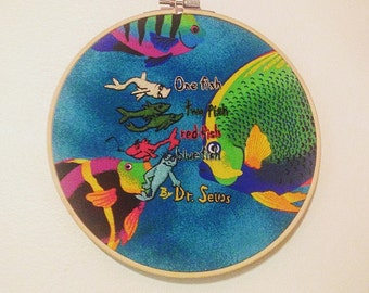 """Dr. Seuss hand embroidered """"one fish two fish"""" embroidered hoop"""