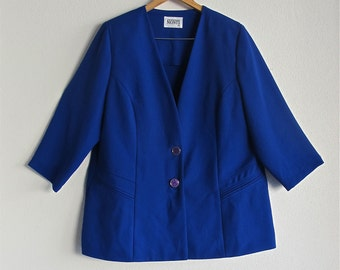 Plus Size Vintage Blazer in Cobalt