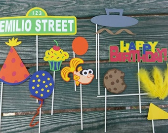 Personalized Sesame Street Inspired Photo Booth Props
