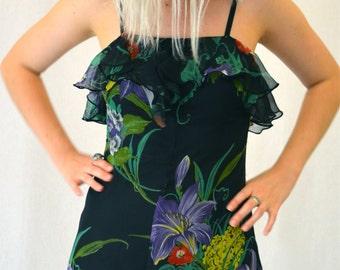 Gorgeous Vintage 70's Black Floral Hanky Hem Stevie Nicks Gypsy Dress