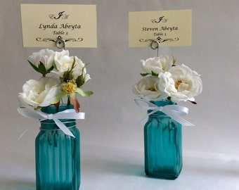 Place card holders - tourquoise glass bud vase - shabby chic