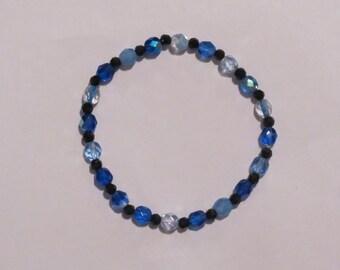 Blue Czech w/Black Faceted Jet Beads Bracelet