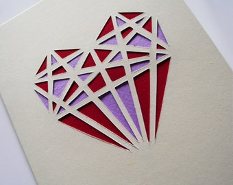A6 Hand-Cut Geometric Large Heart Greetings Card