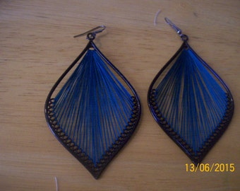 Vintage String Wire Wrapped Earrings, Handmade thread woven earrings
