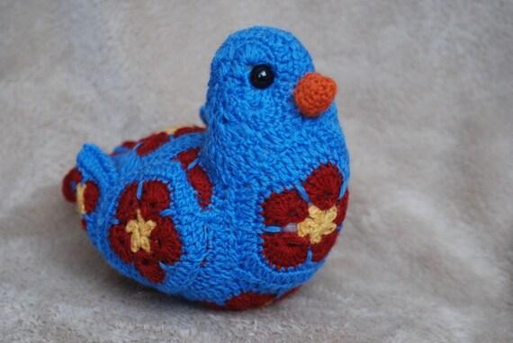 Crocheted African Flower Blue Bird / Crochet Bird / Amigurumi