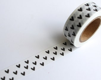 Black Love heart Washi tape/ Hearts Planner tape/ crafting tape/ White Giftwrap