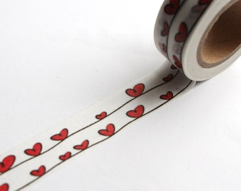 Red love Hearts washi tape/ Love Wedding Giftwrap/ Wedding Planner tape