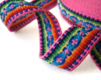"pink ribbon jacquard trim geometric design tribal trim ethnic ribbon craft supplies  28 mm/1.1"" x 5.0 m/5.46 yd"