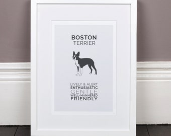 Boston Terrier Print Gift Picture Art Artwork Illustration Text Typography