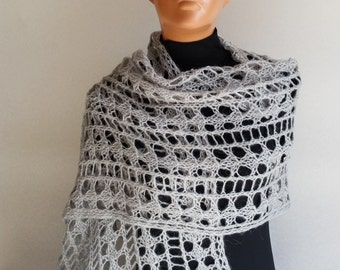 Hand Knitted Scarf, Knit scarf wrap, grey Scarf, Wrap, Neckwarmer, women's knit scarf, handmade scarf,grey knit scarf, summer accessory
