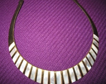 Beautiful Vintage Solid Brass and Mother of Pearl Inlay Choker Necklace