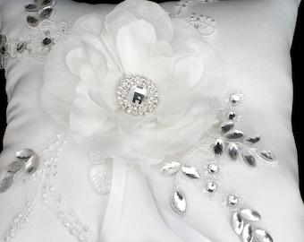 Wedding Ring Pillow Flower Rhinestone Lace Wedding Ring Bearer Pillow