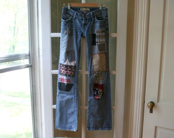 Recycled Upcycled Jeans / Custom Hand Made Jeans / - by Breathe-Again Clothing