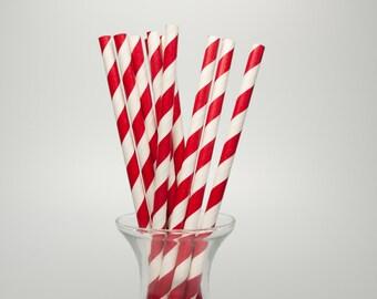 25 Red Stripe Paper Straws - Red Paper Straws - Red Party Straws - Red Drinking Straws - Polka Dot Paper Straw