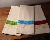 Tea Towels - Handmade with Vintage Lace /Set of Three