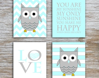 Kids (D) - You Are  My Sunshine - Owl - Light Blue Gray - 4 Parts