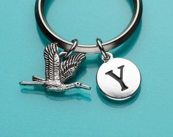 Geese Flying Keychain, Flying Geese Key Ring, Bird Charm, Initial Keychain, Personalized Keychain, Custom Keychain, Charm Keychain, 419
