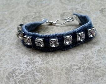 Denim bracelet, recycled jeans, denim bangle, upcycled jeans, repurposed denim