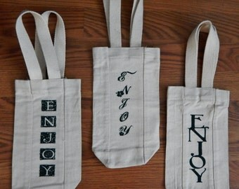 "Canvas Wine Bottle Tote Bag, ""Enjoy"" wine tote"