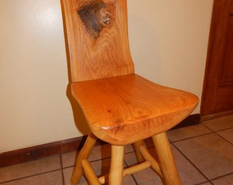 Oak Wood Chair with Lion Design