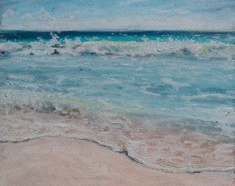 Oil Pastel Painting of a Cancun Beach