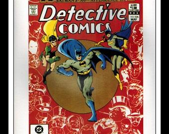 "Vintage Print Ad Comic Book Cover : Detective #526 / Batman #358 Robin Batgirl Illustration Dbl Sided Wall Art Decor 8"" x 10 3/4"""