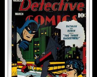 "Vintage Print Ad Comic Book Cover : Detective Comics #61 / Detective Comics #70 Robin Illustration Dbl Sided Wall Art Decor 8"" x 10 3/4"""
