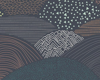 "Cotton Fabric Dark Hills ""Summit Twilight"" Woodland Hello Bear Fabric Art Gallery"