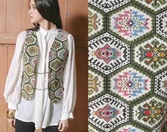 Sale 40% Off VTG 1970's Embroidered Ethnic Folk Peasant HIppie Boho Vest - S
