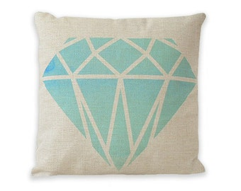 """Watercolor Turquoise Gemstone Pillow Cover 18"""" x 18"""" by Geo Evolution"""