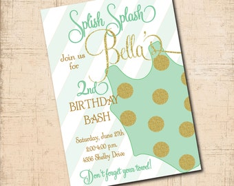 Birthday Invitation with gold glitter details / digital file / printable / age, wording and colors can be changed