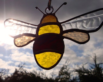 Stained glass bumble bee sun catcher